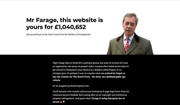 Led By Donkeys has offered to sell the brexitparty.com to Nigel Farage for a million