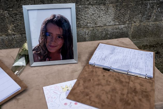 A picture taken on June 2, 2018 shows a photography of French schoolgirl Maelys De Araujo, who was abducted...