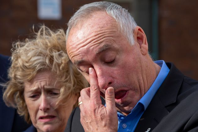 The parents of Grace Millane, David and Gillian Millane speak to media outside Auckland High