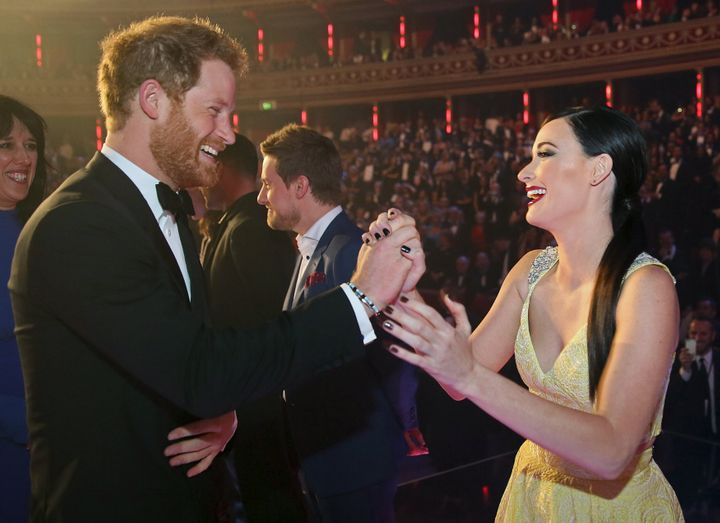 Prince Harry greets Kacey Musgraves after the Royal Variety Performance on Nov. 13, 2015, in London.