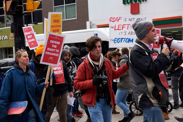 Ryerson University students picket during a one-day strike against Ontario Premier Doug Ford and his...