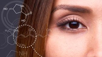 Part of young Asian womens face looking at camera, arrows with chemical formulas pointing at her face