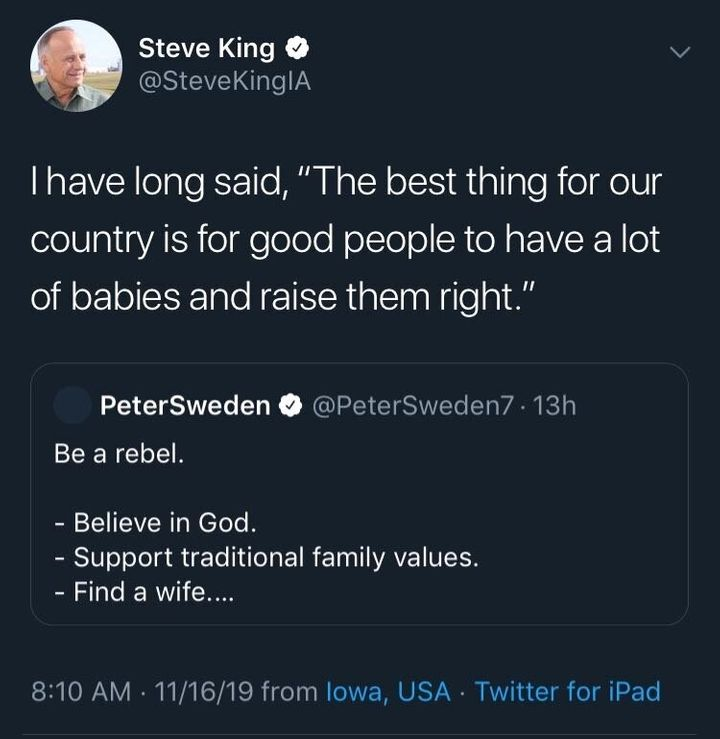 A tweet from Rep. Steve King, promoting far-right influencer Peter Sweden.