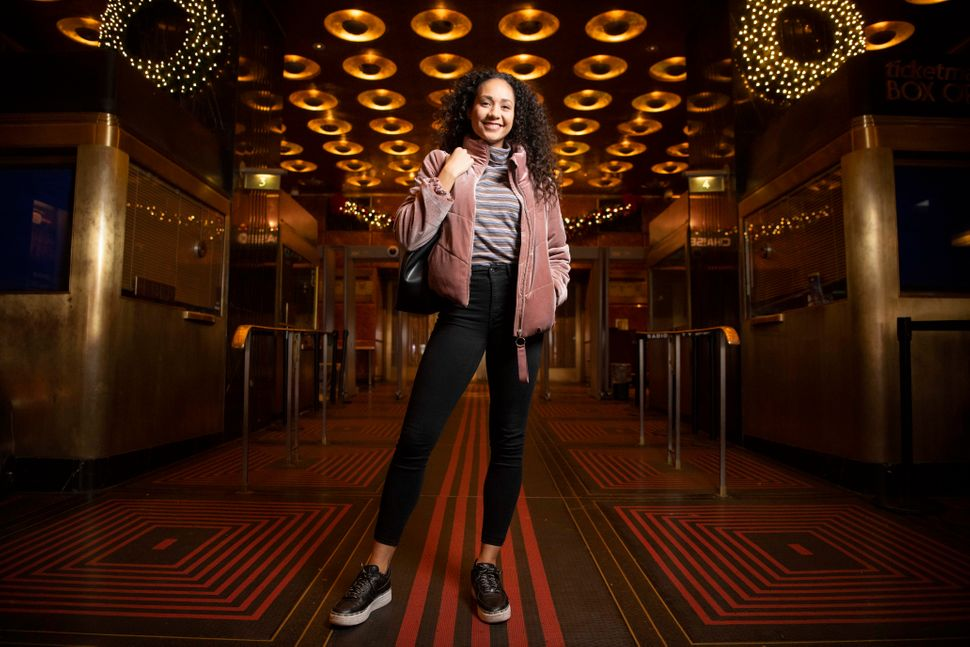Rockette Maile Makaafi shares her off-duty look in the lobby of Radio City Music Hall.