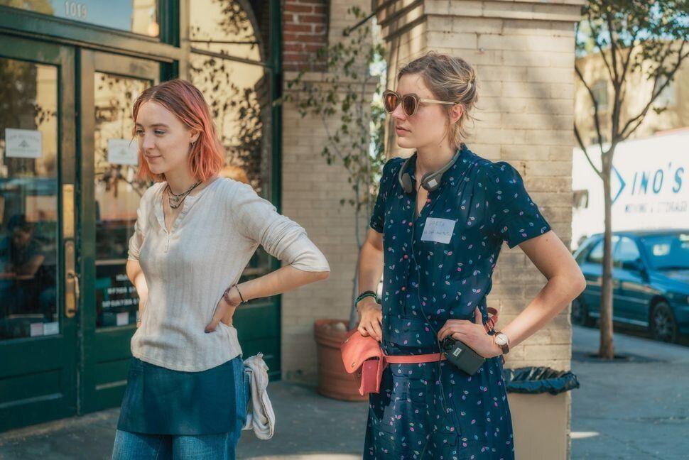 "Saoirse Ronan and Greta Gerwig on the set of ""Lady Bird"" in 2016."