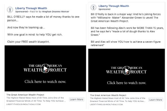 "Facebook removed misleading ""Liberty Through Wealth"" ads paid for by The Oxford Club after being contacted by HuffPost."