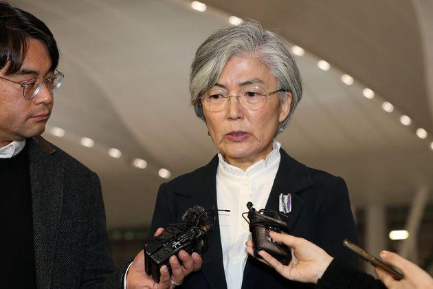 주요 20개국 외교장관 회의 참석을 위해 인천국제공항을 통해 출국하고 있는 강경화 외교부