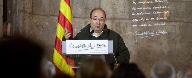 El primer secretario del PSC, MiquelIceta , durante su intervención este sábado en el acto de homenaje...