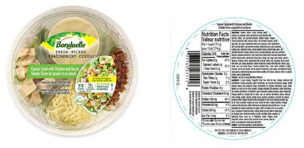 A Bonduelle Caesar salad with chicken and bacon, one of th varieties recalled.