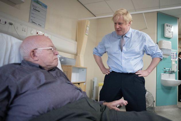 Prime minister Boris Johnson during a visit to Bassetlaw District General Hospital in Worksop, Nottinghamshire,...