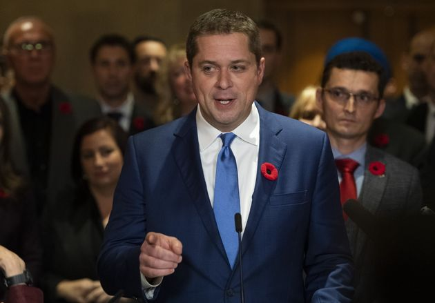 Andrew Scheer speaks to reporters following a caucus meeting on Parliament Hill in Ottawa, on Nov. 6,