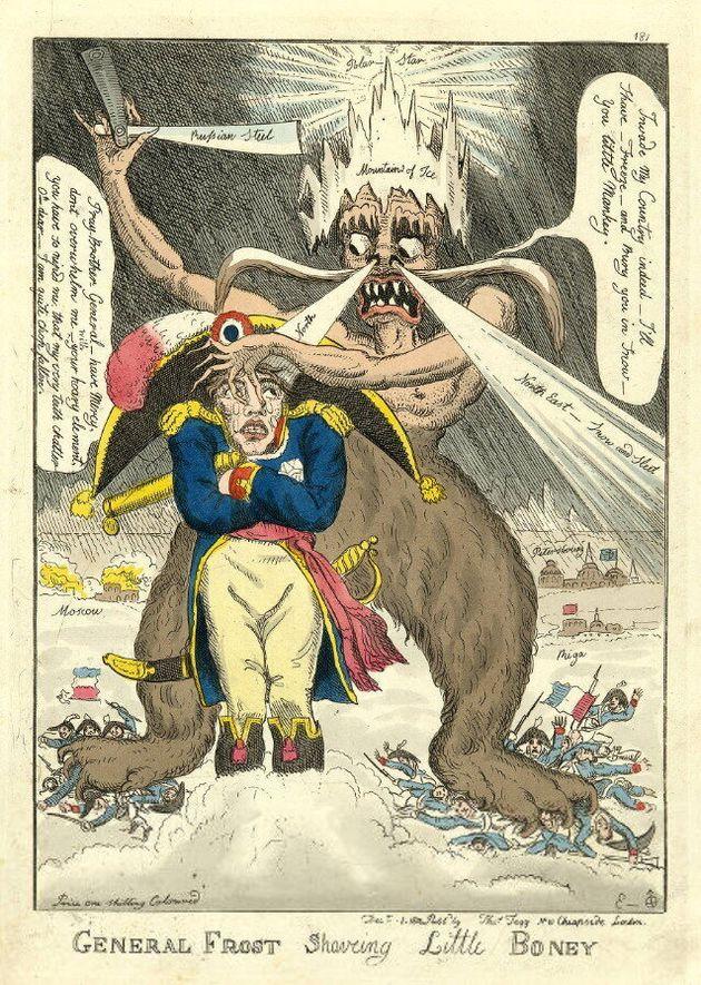 「冬将軍」が初めて登場したと言われる、1812年出版のウィリアム・エルメス氏の風刺漫画