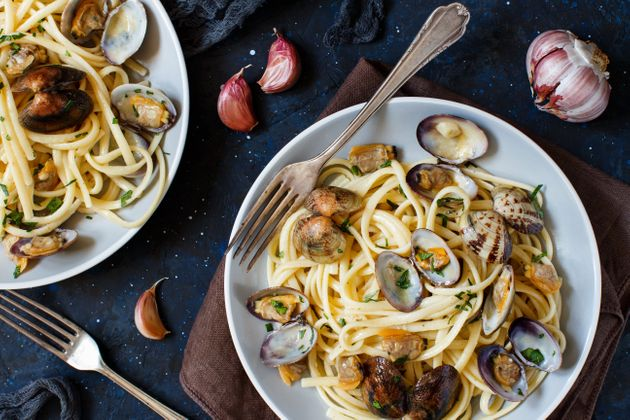 Linguini with clams top view - Traditional italian seafood