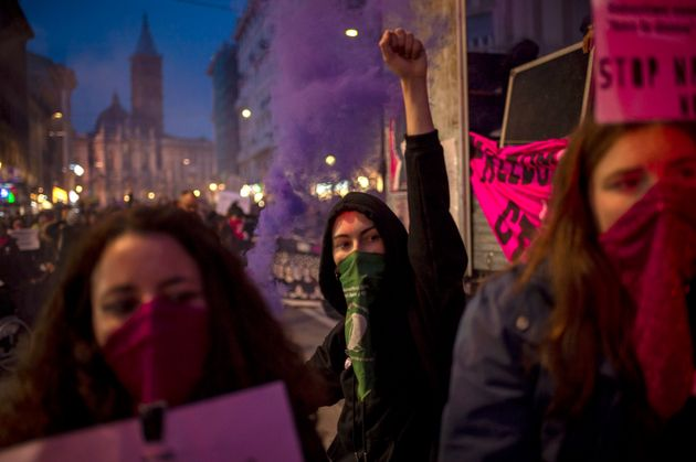 ROME, ITALY - NOVEMBER 23: Women take part in a demonstration organized by