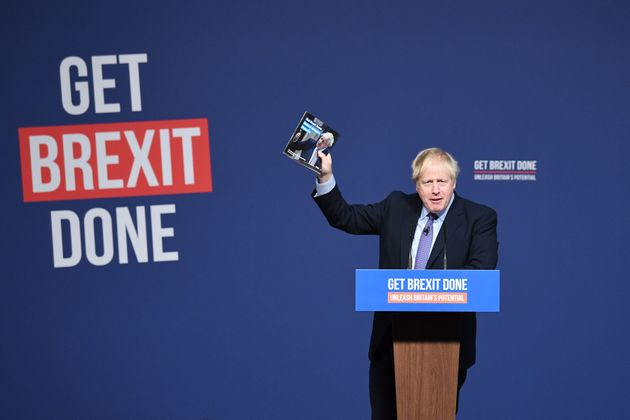 Prime Minister Boris Johnson at the launch of his party's General Election manifesto in Telford, West...