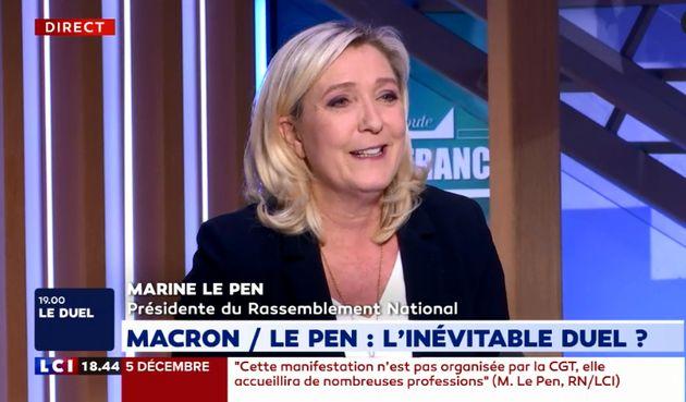 Marine Le Pen sur le plateau de LCI dimanche 24