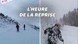 Les images des premières descentes en ski de la