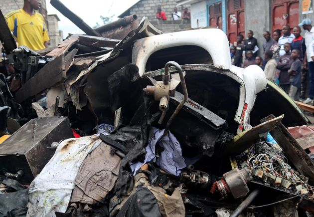 Image result for Plane crashes into homes in Congo, at least 26 dead
