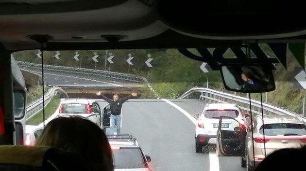 Il tratto di viadotto crollato a Savona a causa di una