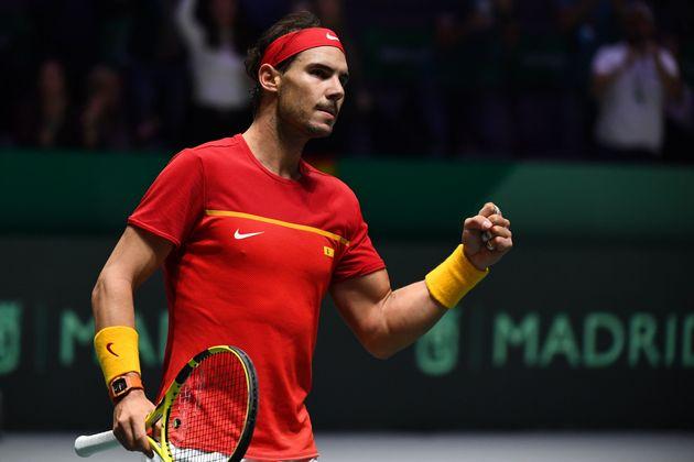 Rafael Nadal lors de son match de Coupe Davis face à Denis Shapovalov, à Madrid, le 24...