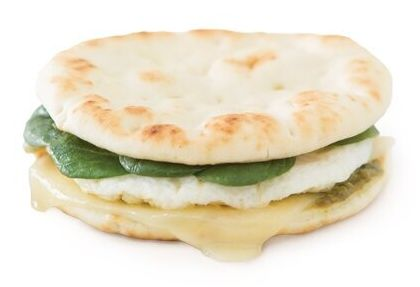 The Second Cup egg white, pesto and Swiss on naan.