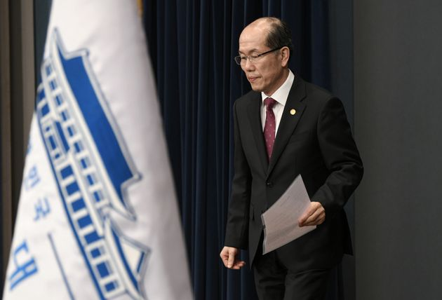 Kim You-geun, a national security official at South Korea's presidential Blue House, arrives to speak...