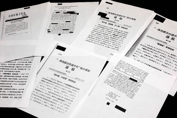 A sample of classified Chinese government documents leaked to a consortium of news organizations, is displayed for a picture