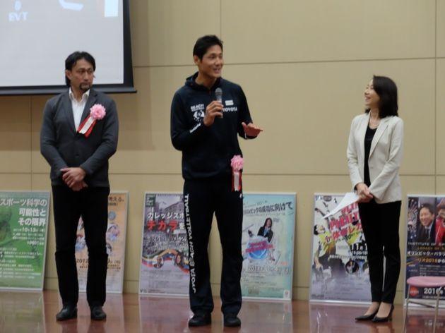 ラグビー元日本代表の大野均さんとビーチバレー日本代表の石島雄介さん