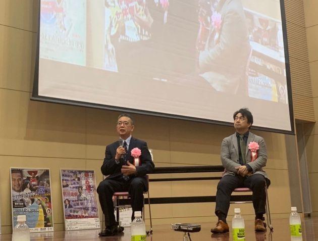 日本卓球協会副会長の前原正浩さんと国立スポーツ科学センター長の久木留毅さん
