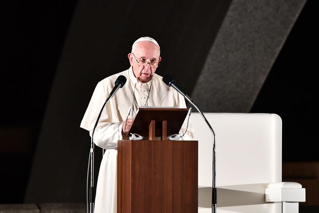 Pope Francis speaks by the cenotaph in memory of those killed in the 1945 atomic bombing during an event...