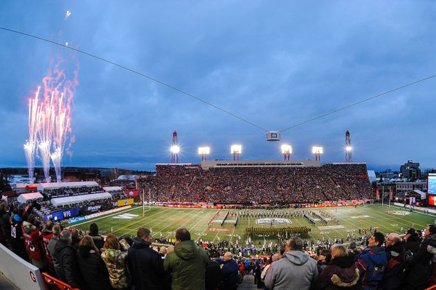 A general view of Calgary's McMahon Stadium as the national anthem is sung to start the 107th Grey Cup