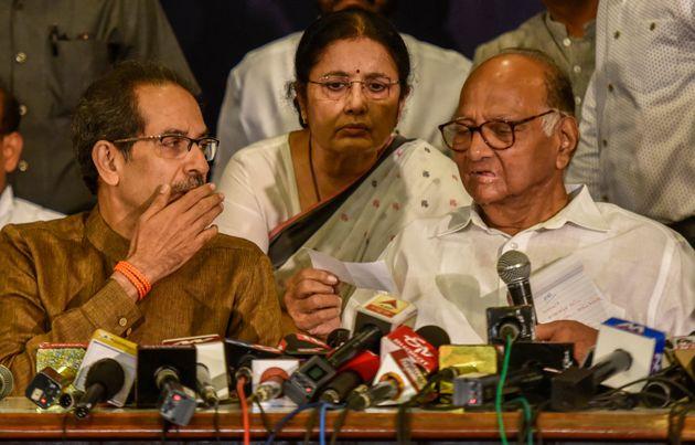 Shiv Sena Chief Uddhav Thackarey and NCP chief Sharad Pawar during the press conference on November 23,...