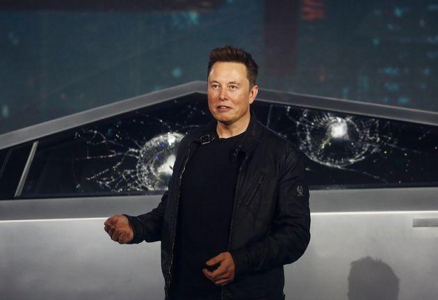Tesla CEO Elon Musk introduces the Cybertruck at Tesla's design studio in Hawthorne,