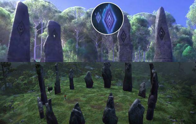 Arriba, rocas del bosque encantado de 'Frozen 2'. Abajo, rocas del bosque 'Brave'.