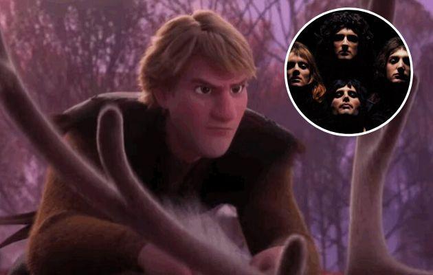Kristoff, en 'Frozen 2' e imagen del vídeo de 'Bohemian Rhapsody'.