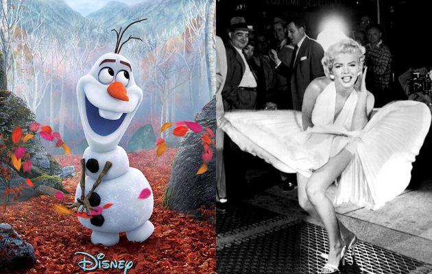 Olaf, en 'Frozen 2', y Marilyn Monroe en 'La tentación vive arriba'.
