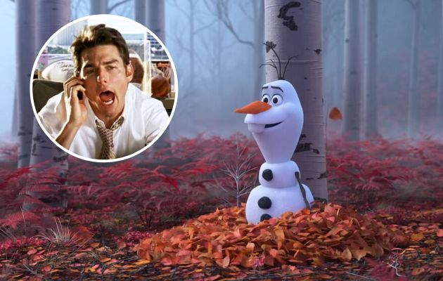 Tom Cruise, en 'Jerry Maguire', y Olaf, en 'Frozen 2'.