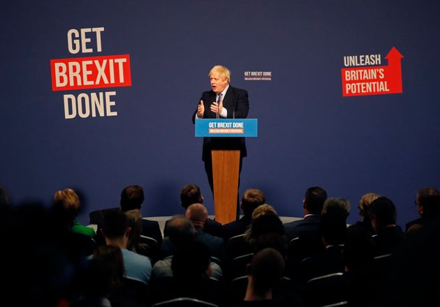 Prime minister Boris Johnson presents the Conservative Party's manifesto on