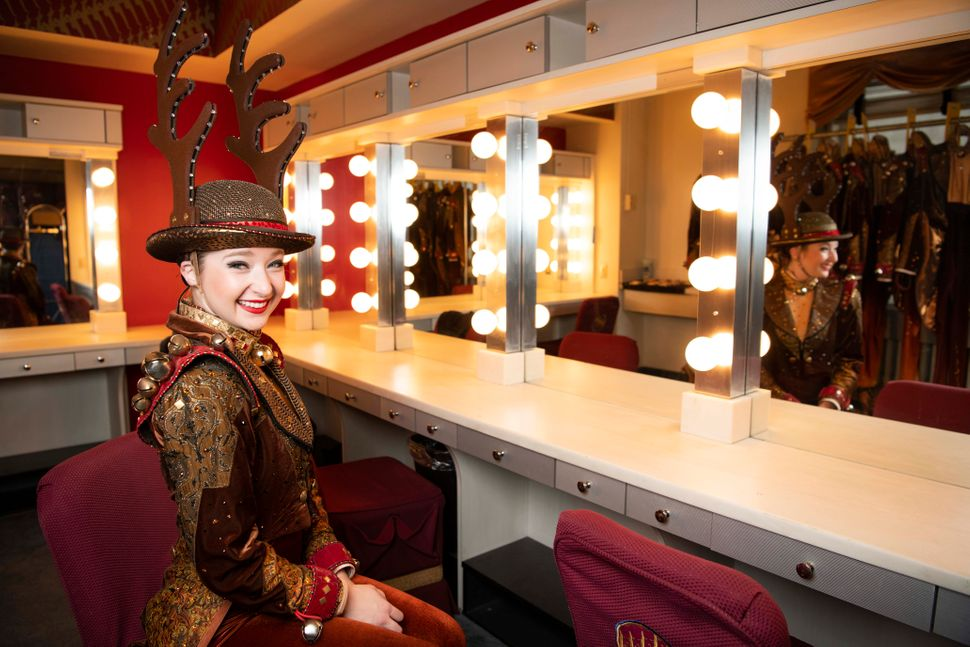 Shelby Finnie in the Rockettes' dressing room, wearing the only costume they change into up there.