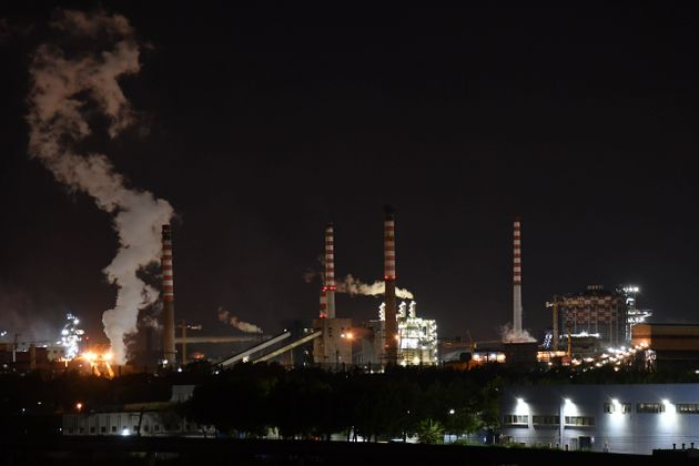 A general view taken late on November 7, 2019 shows the steel manufacturing giant Arcelor Mittal Italia...