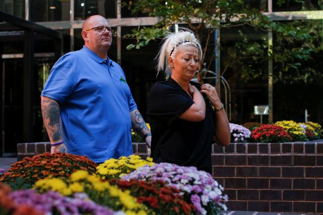 Charlotte Charles and Tim Dunn, parents of British teen Harry Dunn who was killed in a car crash on his