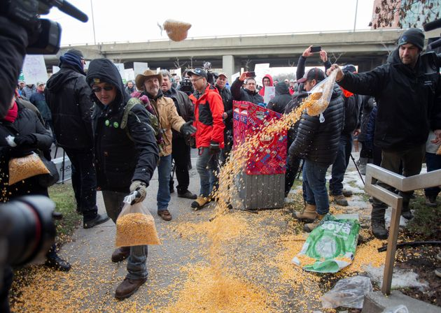 Farmers dump bags of corn grain in front of the office of Justin Trudeau, as they protest the lack of...