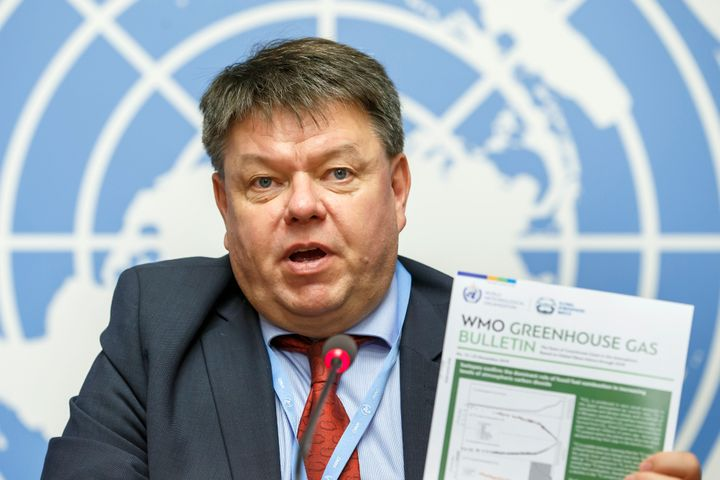 Petteri Taalas, Secretary-General of the UN's World Meteorological Organization, says concentrates of carbon dioxide and other greenhouse gases have reached record highs. He made the announcement in Geneva, Switzerland, Nov. 25, 2019.