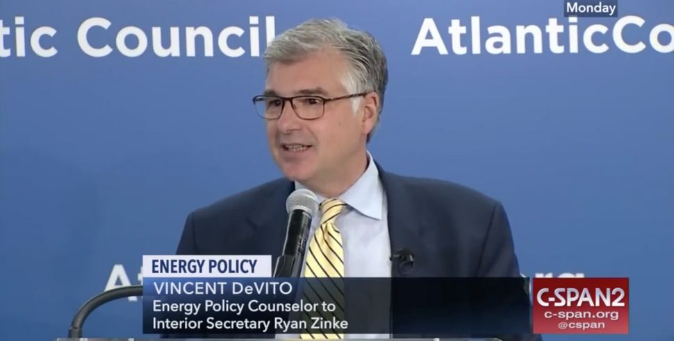 """Vincent DeVito, pictured here during <a href=""""https://www.c-span.org/video/?446787-1/energy-policy"""" target=""""_blank"""">an event<"""