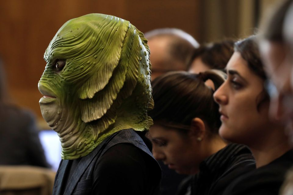 A clean water activist attends a Senate Energy and Natural Resources Committee nomination hearing for...