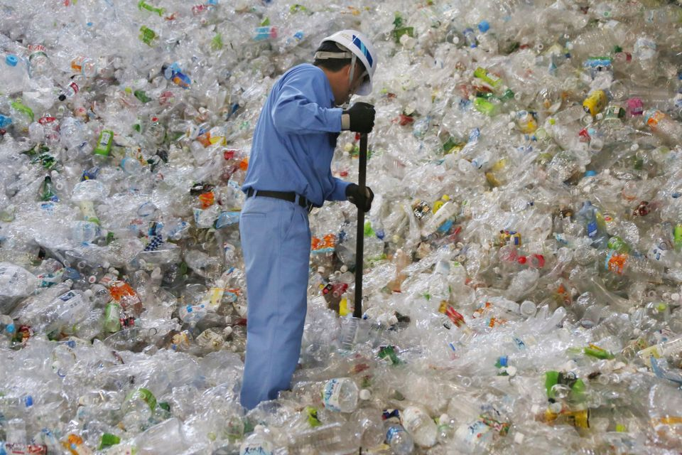 A plastic recycling company worker sorts out plastic bottles in