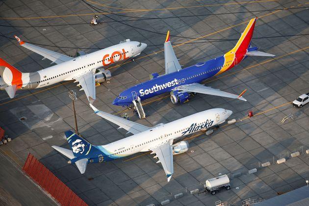 An aerial photo shows three 737 MAX aircrafts at Boeing facilities in Moses Lake, Washington on Sept....
