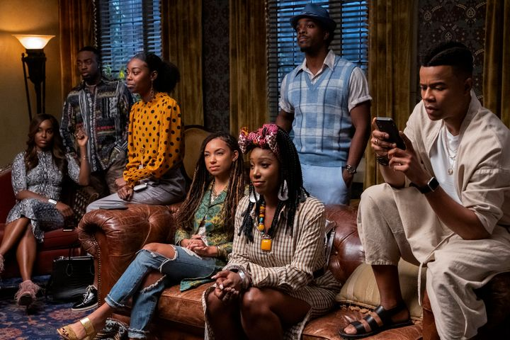 "Antoinette Robertson, Logan Browning, Ashley Blaine Featherson and Marque Richardson in ""Dear White People."""