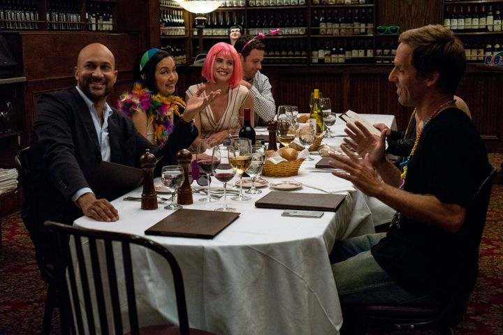 "Keegan-Michael Key, Jae Suh Park, Cobie Smulders, Zack Robidas and Nat Faxon in ""Friends From College."""