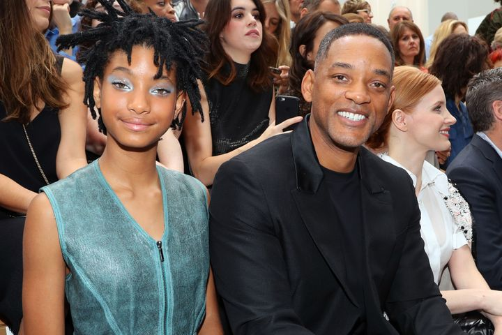 Will Smith and daughter Willow at a Chanel fashion show in Paris in 2016.